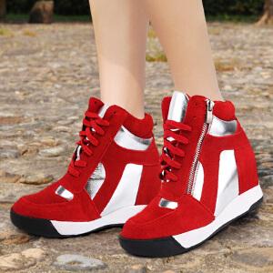东帝名坊新款厚底高帮绑带运动鞋内增高休闲鞋女单鞋