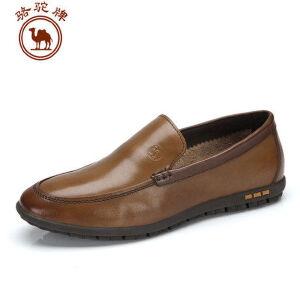 骆驼牌男鞋 头层牛皮男式休闲皮鞋 拼色套脚鞋
