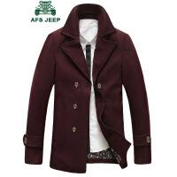 战地吉普AFS JEEP羊毛呢大衣男中长款呢子大衣 男士时尚翻领羊毛大衣外套