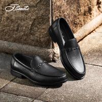 宾度男鞋新品商务休闲鞋子中年男士皮鞋套脚男爸爸鞋耐磨