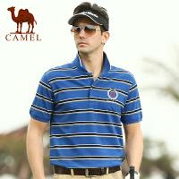 CAMEL 骆驼男装 夏装新款 男士休闲直筒条纹t恤衫 短袖棉t恤