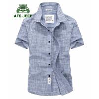 战地吉普AFS JEEP短袖衬衫男 牛津纺韩版时尚休闲短袖翻领衬衣 夏季薄款男装上衣