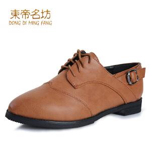 东帝名坊英伦风休闲系带方跟女单鞋
