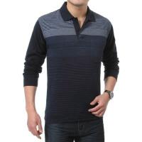 2015 秋季新款 粗细条纹 翻领口袋 休闲男士长袖T恤