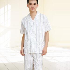 金丰田夏男士时尚家居服 梭织棉质条纹短袖睡衣套装01249
