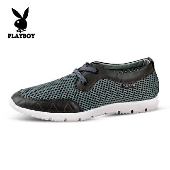 花花公子(PLAYBOY)休闲男鞋运动板鞋新款透气网布鞋英伦凉鞋