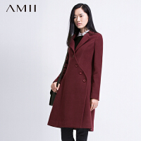 【AMII超级大牌日】[极简主义]2016秋冬新斜门襟大码外套11571866