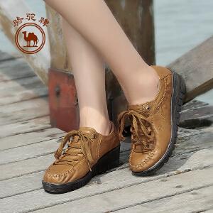 骆驼牌女鞋 坡跟鞋 春夏款女单鞋 妈妈鞋 中跟休闲女
