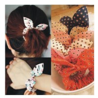 日照鑫 韩国可爱迷你小小圆点小兔耳朵发饰头饰 发圈发绳发带头花 5个装