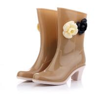 女鞋雨鞋雨靴山茶花防雨鞋高筒高跟鞋水靴水鞋