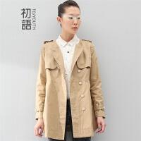 初语 2016冬装新款女式中长款风衣纯色宽松外套女装8430612020