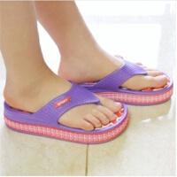 普润 韩式居家高跟防滑按摩拖鞋 人字拖鞋 红底紫边 大小可选哦