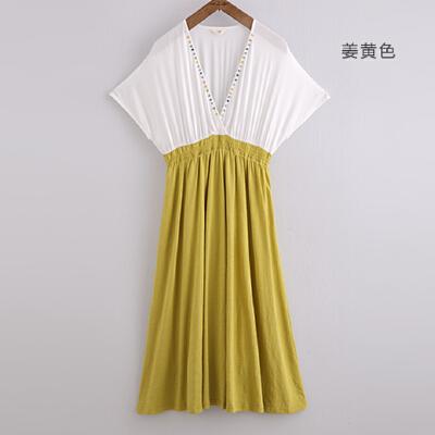 夏季新款 初语 深v领高腰细褶连衣裙 短袖织棉中长裙子 女326301098