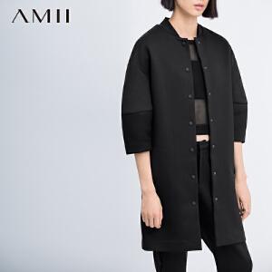 【AMII超级大牌日】[极简主义]2017年春新轻运动风棒球领落肩拼接袖大码外套女11571128
