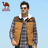 骆驼男装 秋冬羽绒马甲 男士休闲羽绒背心 保暖拼接外套