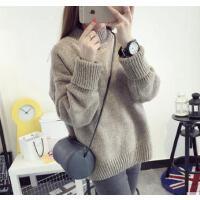 韩版潮衣服冬宽松短款学生线衣 打底衫 半高领加厚毛衣女套头毛线衣