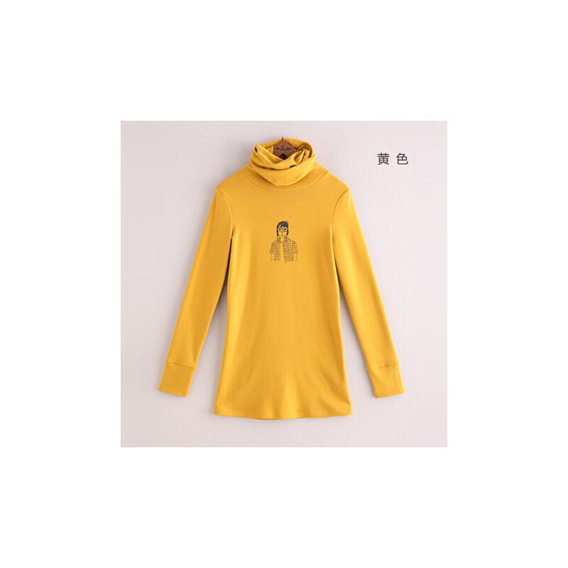 14秋装新款 初语 堆堆领手绘头像印花中长款修身打底长袖t恤女3461010