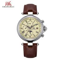 上海牌手表正品 男士全自动机械表 多功能24K镀金复古时尚男表190