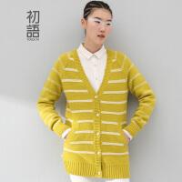 初语冬季新款 文艺大码女装宽松撞色拼接条纹中长款毛衣开衫外套女8440413128
