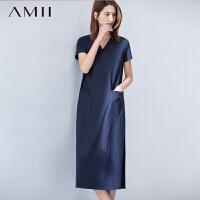 【AMII超级大牌日】[极简主义]2016夏女新V领口袋长款宽松大码连衣裙