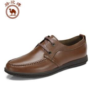 骆驼牌男鞋 头层牛皮商务休闲皮鞋 圆头系带鞋