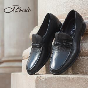 宾度男鞋春季商务鞋英伦青年男士正装皮鞋圆头套脚鞋子耐磨爸爸鞋