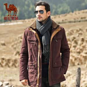 骆驼男装 新款男士纯色休闲棉衣 男士中长款厚棉服 潮