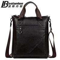 (可礼品卡支付)波斯丹顿 商务休闲手提包 韩版头层牛皮男包单肩包斜挎包B10102