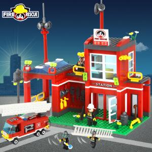 橙爱玩具 启蒙益智积木 乐高式拼插积木玩具 消防分局警车消防车拼装积木 儿童玩具 礼物