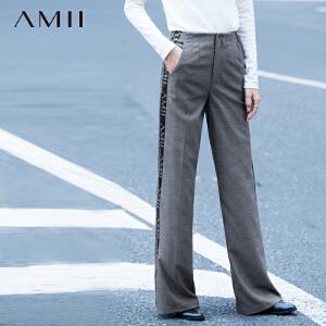 【AMII超级大牌日】[极简主义]2017年春新品宽松阔腿拼印花织带大码休闲长裤女11581265