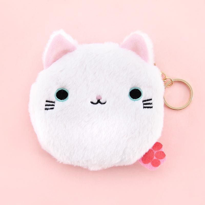 umi韩国创意小猫咪零钱包男女学生儿童迷你硬币包毛绒小包钥匙包_白色