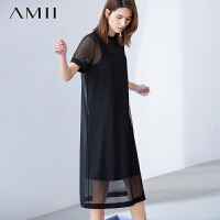 【AMII超级大牌日】[极简主义]2016夏女新纯色网纱背心大码两件套连衣裙11671425