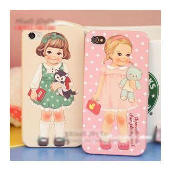 英伦风娃娃可爱女孩手机壳iphone4s手机套苹果4手机壳外壳afrocat