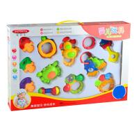 美贝乐 新生儿0-1岁宝宝玩具 牙胶摇铃12件套装摇铃 婴儿玩具礼盒MS0031