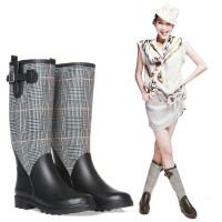 女式雨靴橡胶雨鞋高筒雨靴帅气机车格纹马靴