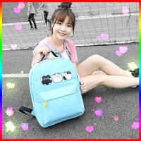 芭特莉【支持礼品卡支付】2016新款韩卡通纯色印花可爱小猫学院小初中学生双肩包女包CL#1645