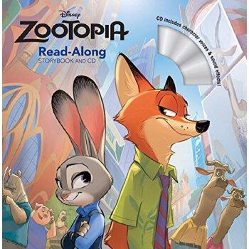 疯狂动物城英文原版 绘本 cd 迪士尼故事书 zootopia read-along