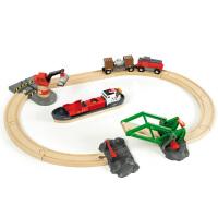 [当当自营]BRIO 港口电动车轨道套装 儿童益智拼插木制轨道小火车玩具 BR33061