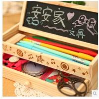 韩国可爱文具 多功能文具盒 大容量简约铅笔盒 韩版创意木制笔袋 黑板木制铅笔盒