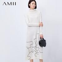 【AMII超级大牌日】[极简主义]2016秋冬新品高领抽象印花大码毛衣连衣裙11591676
