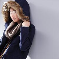 初语 冬季新款 可拆卸毛领连帽棉服女款中长款棉衣女外套347107025