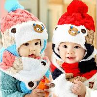 秋冬季儿童帽子围巾两件套 护耳加绒毛线帽潮 婴儿帽子男女宝宝帽子