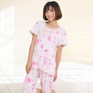 金丰田女士夏季短袖五分裤睡衣家居服套装1749