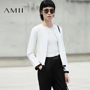 【AMII超级大牌日】[极简主义]2017年春新款通勤百搭圆领宽松撞色短外套女11673203