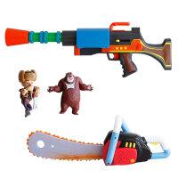 美高乐熊出没玩具MG-133  熊出没伐木工具 迷你电锯+声光机关枪套装