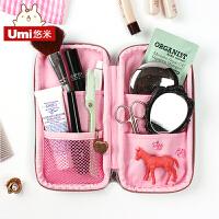 文具盒女生韩国创意简约男中学生帆布铅笔盒多层女大容量笔袋