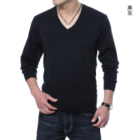 2016 秋冬新款针织衫 中年男装大V领抗起球纯色休闲长袖毛衣