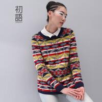 初语 2016秋季新款 宽松舒适百搭羊毛针织衫套头毛衣女8440423093