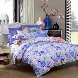 [当当自营]富安娜家纺纯棉四件套1.5米1.8米床印花套件 恰逢花开 蓝色 1.5m