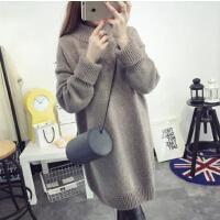 韩版毛衣裙打底衫冬季 高领毛衣女套头外套 中长款宽松加厚女装冬装